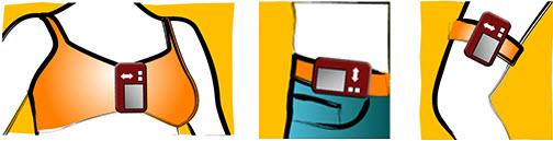 Où placer la pompe - Au niveau du soutien-gorge pour les femmes - Poche du pantalon, en clip ou en étui se portant à la ceinture - Pochette cuisse-jambe